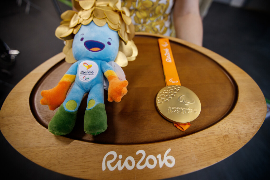 Preparations for the medal presentations for the Women's Shot Put - F57 in the Olympic Stadium. The Paralympic Games, Rio de Janeiro, Brazil, Friday 9th September 2016. Photo: Simon Bruty for OIS.  Handout image supplied by OIS/IOC